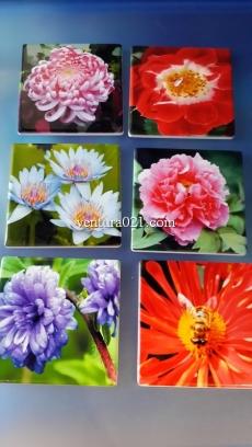 """Магнит керамический """"Цветы"""" 7.5*7.5 см"""
