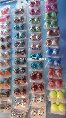 Серьги-шарики с камушком