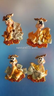"""Новогодний сувенир в виде магнита """"Пёс с  пожеланиями"""""""