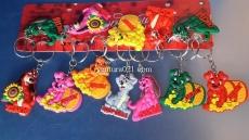 Брелок новогодний резиновый в виде собачки  с пожеланиями