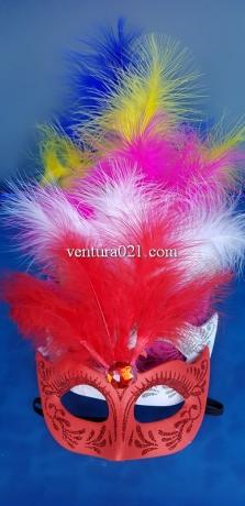 Маска карнавальная с узором и перьями